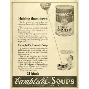 1919 Ad Campbells Tomato Soup Souper Kid Poem Poetry World War