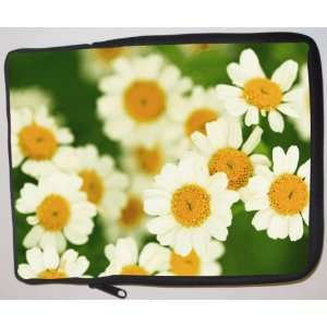 White Yellow Flowers on Green Laptop Sleeve   Note Book