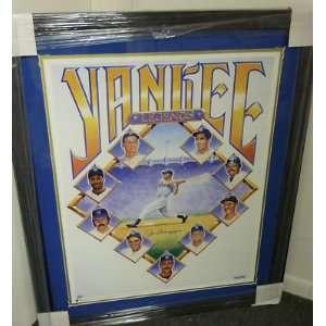 Joe Dimaggio Signed Yankees Legends Print Framed LOA   Autographed MLB