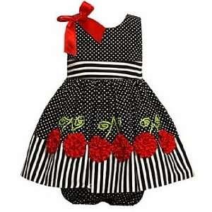 Newborn Easter Dress   Navy Dot Cherry Dress (6 9 Month