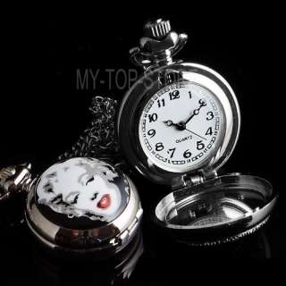 Brand New Pocket Watch Hollywood Classic Marilyn Monroe Silver Free