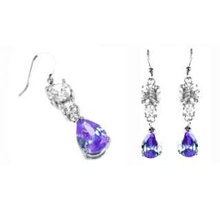 JEWELRY PURPLE AMETHYST WHITE GOLD LADY DANGLE DROP EARRINGS