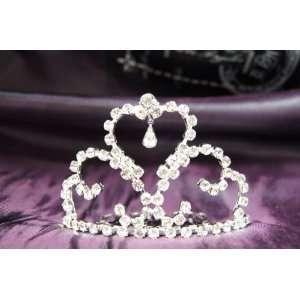 Princess Bridal Wedding Tiara Crown Crystal Heart DH15756