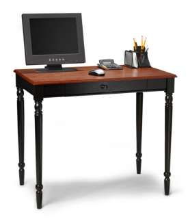 French Country Cherry/Black Wood Office Computer Desk 095285409266
