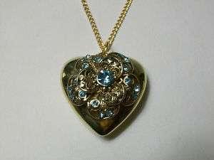 VINTAGE PUFFY HEART BLUE RHINESTONE PENDANT NECKLACE / GORGEOUS PIECE