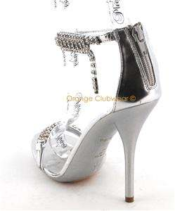 PLEASER Eclair 58 Womens Formal Silver High Heels Shoes