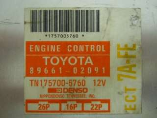93 94 COROLLA PRIZM ENGINE COMPUTER ECM ECU PCM 8966102091