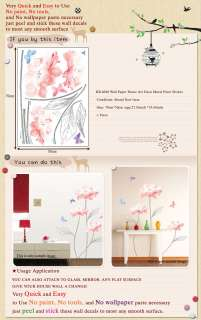 KR 0020 PINK FLOWER DECO MURAL ART WALL PAPER STICKER