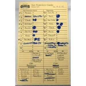 4 11 93 San Francisco Giants Vs. Pirates Lineup Card