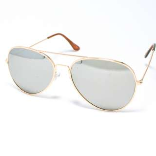Sunglasses Mens Womens Privacy GOLD Metal Frame Mirrored Lens