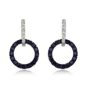 14K White Gold Diamond & Blue Sapphire Circle Earrings Jewelry