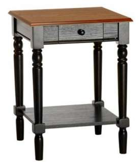 French Country Cherry/Black Wood End Table Side Stand