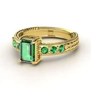 Emerald Isle Ring, Emerald Cut Emerald 14K Yellow Gold Ring Jewelry
