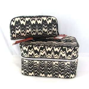 Target Blk Wht Zig Zag Famiglia Train Case / Cosmetic Bag Travel Set