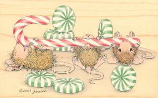 MOUSE Wood Mounted Rubber Stamp Peppermint Stampabilities NEW