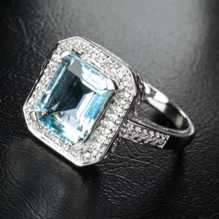 Emerald Cut VS Aquamarine 14K White gold Diamond Halo Engagement ring