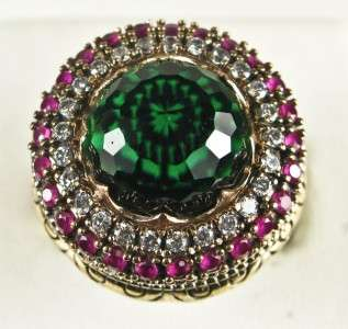 Art Deco 7.85ctw Emerald, Ruby & Sapphire Rose Gold/925 Cocktail Ring