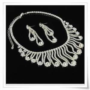 Wedding Bridal Prom Imperial Crystal Rhinestone Necklace Earrings Set