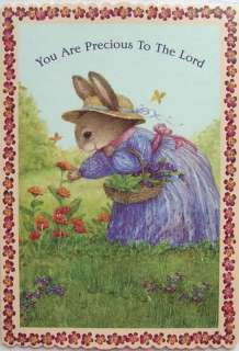 Holly Pond Hill Bunny Picking Flower Encouragement Card