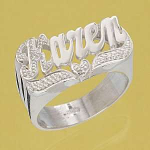 Personalized Sterling Silver Large Script Letter Precious Hand Carving