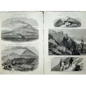 Mountain Vesuvius Volcano 1872 Bay Naples Lava Crater