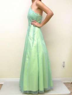 Ethereal Green Blue Full Length Mesh Beaded Halter Top Prom Dress Gown
