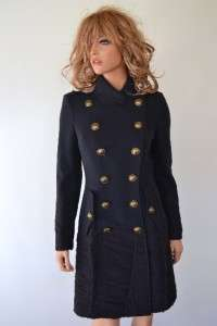 NWT BURBERRY PRORSUM NAVY BLUE WOOL RUNWAY MILITARY TRENCH COAT JACKET