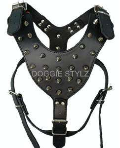 Black Leather Dog Harness Large Boxer Rottweiler Bully