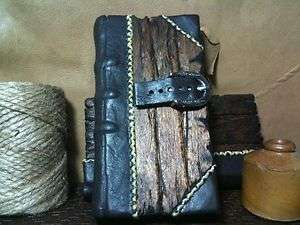 Pirate Captains Ledger Half Leather Bound Wood Book w/ Strap & Buckle