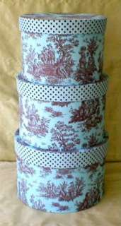 Fabric Covered Hat Box ,Pink Brown Toile, XLG, Tall (3)