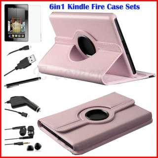 Rotating Case Cover+Film+USB Cable+Stylus For  Kindle Fire Pink