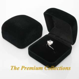 Lot 6 x Square Black Velvet Ring Box Jewelry Gift Boxes