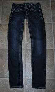 MISS ME by Mek Wide Pick Stitch SKINNY Black Jeans sz 25 x 31 EUC