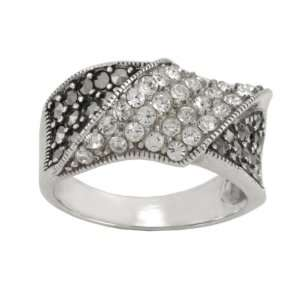 Sterling Silver Marcasite Clear Crystal Wrap Ring, Size 7 Jewelry