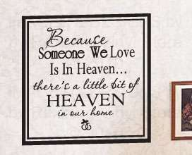 Quote Inspirational Decal Sticker Family Loved in Heaven F45