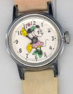 Vintage Minnie Mouse Wrist Watch Pink Walt Disney Productions