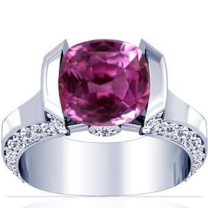 18K White Gold Cushion Cut Pink Sapphire Fana Designer Ring Jewelry