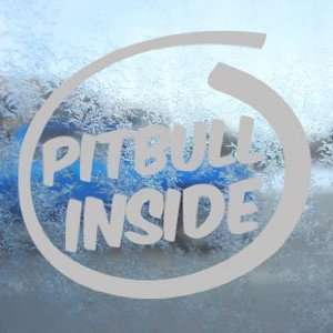 Pitbull Inside Paws Bone Gray Decal Dog Window Gray