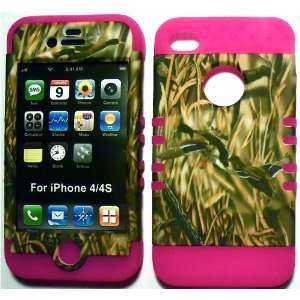 Camo Ducks on Pink Silicone for Apple iPhone 4 4S Hybrid 2 in 1 Rubber