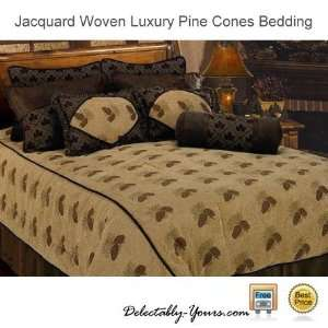 Luxury Lodge Bedding 7 Pc Queen Pine Cone Comforter Set
