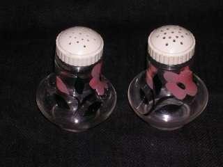 Old Vintage Floral Hand Painted Glass Salt Pepper Set
