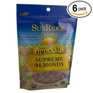 Sunridge Farms Organic Supreme Almonds, 7 Ounce Bags (Pack of 6