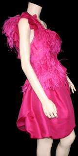 NWT $8,795 NINA RICCI Feather and Silk Lace Dress 38 40 42 US 6 8 10