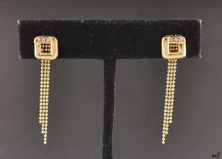 Stunning 14K Yellow Gold Earrings w/Genuine Diamonds Dangle Pierced