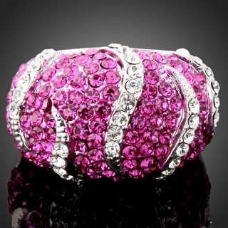 Paved Fuschia Clear Swarovski Crystals GP Cocktail Ring