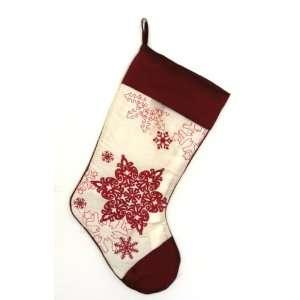 Merry Christmas Embroidered Snowflake Christmas Stocking
