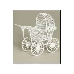 Dollhouse Miniature White Wire Scroll Baby Carriage