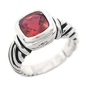 Tqw11733ZUH David Yurman Inspired Checkerboard Ruby Fashion Ring (10