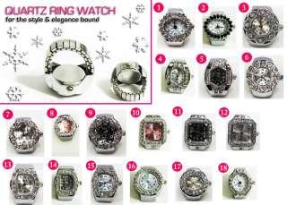 QUARTZ RING WATCH SILVER DIAMONDS STRETCHABLE