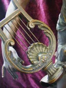Moreau Spelter Bronze Musique Sculpture Lyre Harp